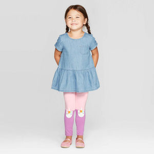 Baby Girl Chambray Top & Unicorn Knee Leggings Set